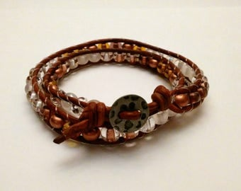 Dark Brown Leather wrap bracelet with  Earth Tone Czech glass Beads.