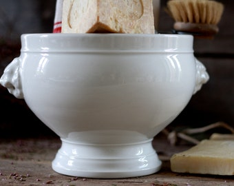 French antique covered serving. French vintage white antique tureen. French ancient pottery. French confit pot. Tian pottery. Large bowl