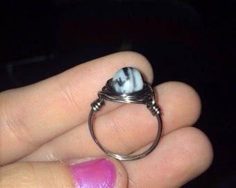 Zebra stone ring