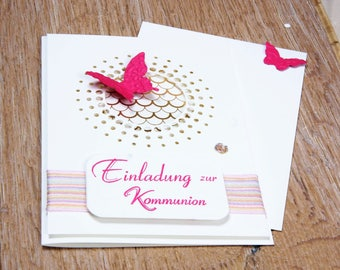 Invitation Butterfly communion, confirmation or baptism