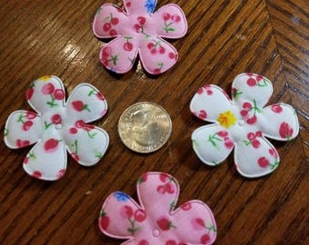Cute Padded Applique Fruit Print Flowers 20 Pieces for sewing/doll making/hairbow/scrapbooking/crafts, etc.