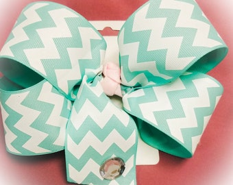 Turquoise and White Chevron Oversized Boutique Bow