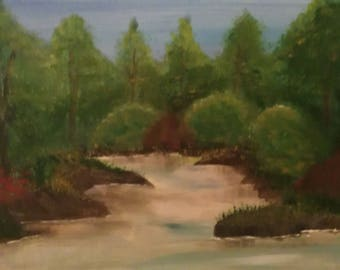 "Presented "" Serene River"" original hand painted acrylic art"