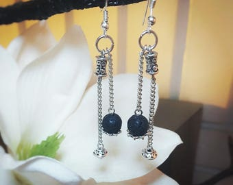Not Your Ball and Chain Earrings Black Lava