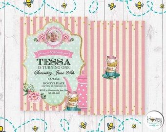 Tea party, girl, invitation, digital invite, strips, pink, 1st birthday.
