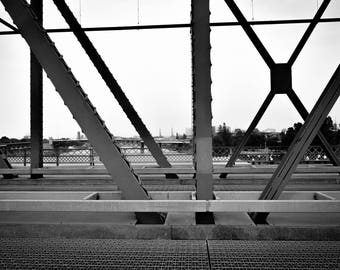 Black and White Photograph of a Bridge in Portland-Giclee Print/Travel Photography