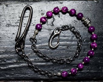 Purple beads wallet chain