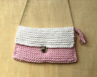 Pink And White Knitted Handbag, Cotton Knitted Handbag, Knitted Clutch