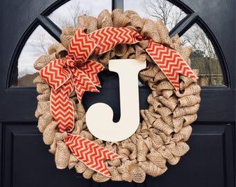 Personalized Chevron Burlap Wreath