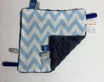 Navy Blue chevron and minky taggy blanket