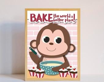 Bake the world a better place - kitchen print / wall art