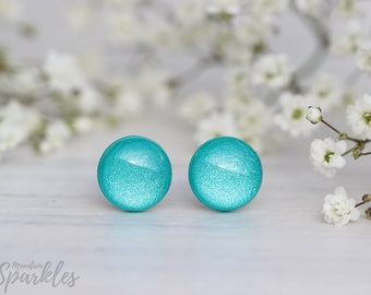 Shimmer Turquoise stud earrings, Teal stud earrings, Simple Stud Earrings Teal, Beach earrings, Turquoise earrings minimalist, Teal jewelry