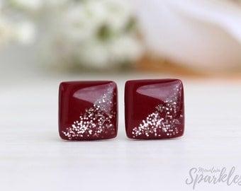 Burgundy stud earrings, Burgundy rose gold studs, Dark red studs minimalist, Titanium earrings simple, Bridal wine red studs, Gift for woman