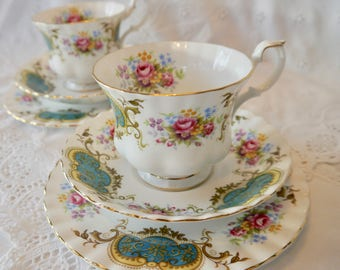Stunning Royal Albert teacup, saucer and plate trio, floral teacup trio, vintage bone china teacup