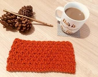 Burnt Orange Hand Knitted Women's Headband and Earwarmer