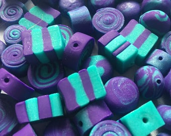 30pcs.Purple and teal Beads