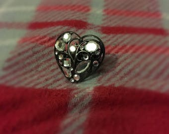 Hand-Crafted Punk/Goth Elasticated Heart Ring