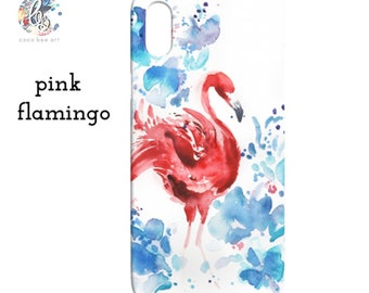 Watercolor Pink Flamingo Phone Case / iPhone or Samsung