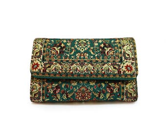 Green Hippie Wallet Paisley Billfold Womens Boho Clutch Purse Vintage Floral Pouch Oriental Pocketbook Vegan Gift For Her Mandala Purse