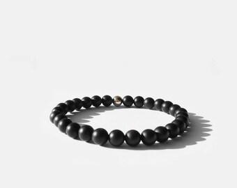 Matte Black Onyx Bead Bracelet 6mm