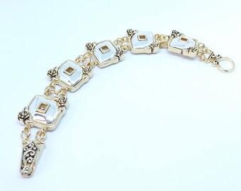 Bracelet - ref1213 - Silver Gold - 19cm approx - floral pattern