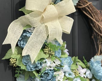 Spring Wreath with Blue and White Flowers