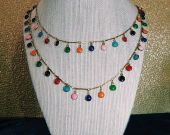 double layer, dangle, colorful, beaded necklace