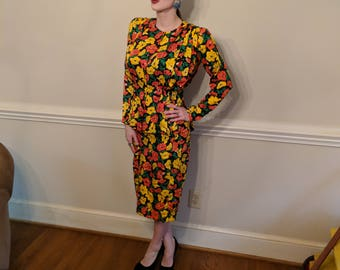 80s Argenti Silk Floral Skirt Suit