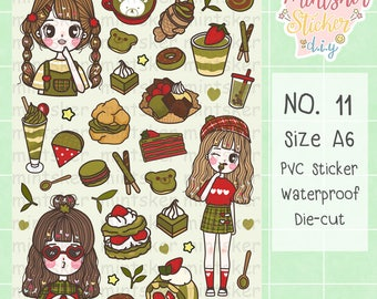 Hand-drawing Stickers No.11 Matcha green tea