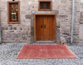 pale red color rug turkish home decorative carpet 6.3x9.2 ft. Free Shipping Oushak Rug Large Rug Boho Rug tribal rug floor rug MB188