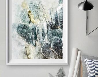 Blue Cactus Print - Cactus Wall Art - Watercolor Cactus - Cactu - CactusArt - CactusPrint- Livingroom Decor - WallArt - Wallposter WallFrame