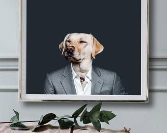 Dog in Grey Suit