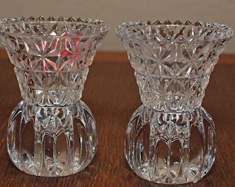 Vintage Princess House 24% Lead Crystal Toothpick Holders or Bud Vases.  Pair of Two