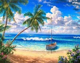 5D DIY Diamond Painting Blue sea View full Square Diamond embroidery  Kits Pictures of crystals home deocr