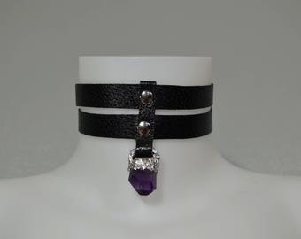 Nymphea Black Leather Choker, amethyst choker, semi precious stone, black leather and amethyst choker