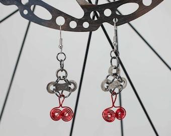 Up Cycle Bicycle Egyptian Twist Earrings