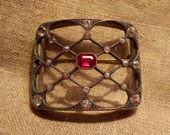 Antique ruby brooch