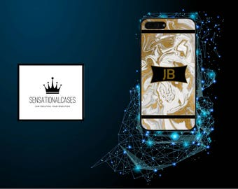 Personalised Gold Marble Initials with Banner Phone Case for Apple Iphone and Samsung Galaxy 5 6 6s 7 8 10