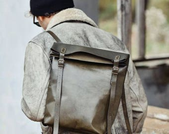 Green Vegetable Tanned Leather Roll Top Backpack