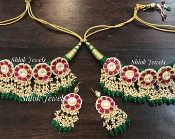Heart shape kundan necklace available in green n turquoise color too