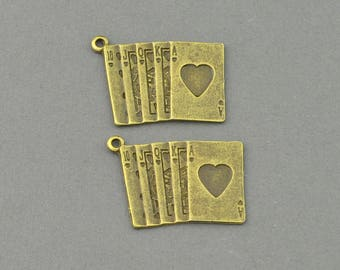 Antique Bronze Tone Playing Cards Charm (AB00-0010)