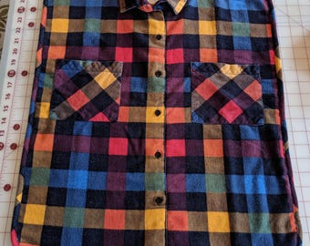 Women's multi-colored flannel shirt front bib