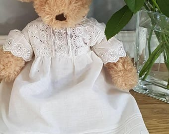 Victorian child's nightdress with broderie Anglais trim white