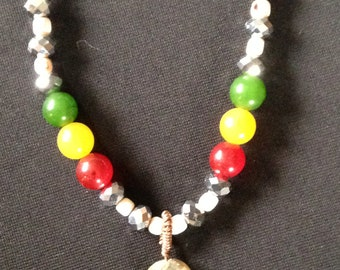 Rasta Necklace with Labradorite Pendant -Blessed with Reiki Prayer