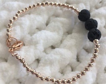 Rose Gold Essential Oil Lava Stone Diffuser Bracelet