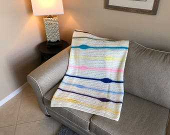 Off-White & Pastel Eye Pattern Afghan