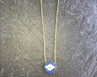 Blue CZ Evil Eye Crystal Necklace