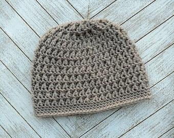 Women's crochet beanie/hat in taupe