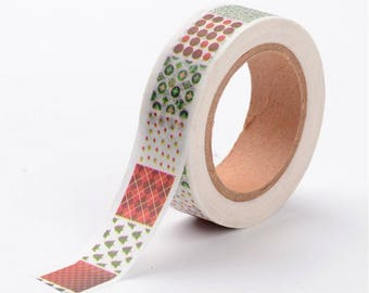 Christmas Quilt Washi Tape - 15mm x 10 Meters - #SW113