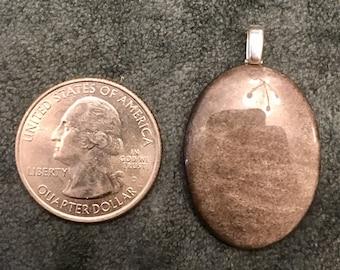 Silver Obsidian Stone Pendant
